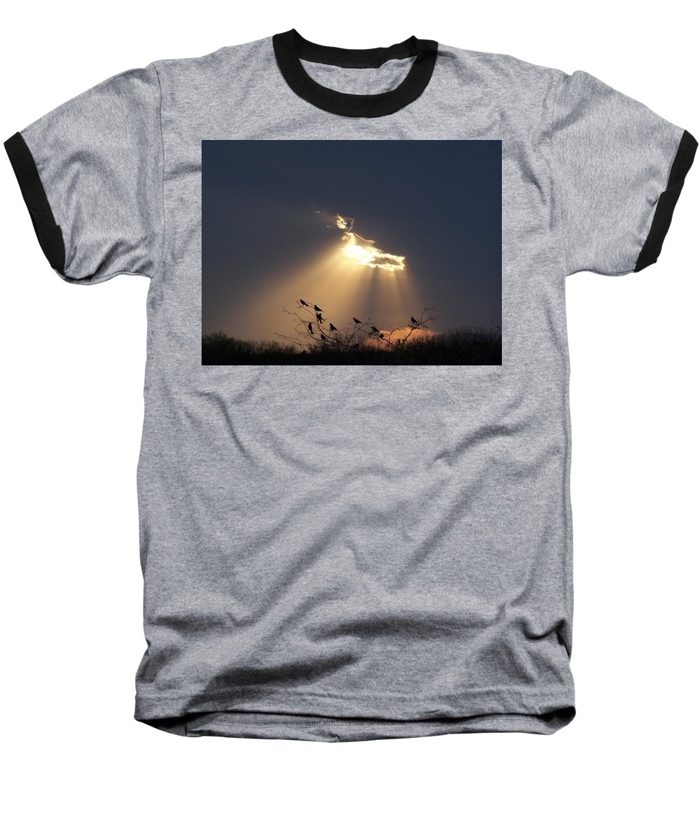 Storm Baseball T-Shirt featuring the photograph Blackbird Sky by Gale Cochran-Smith