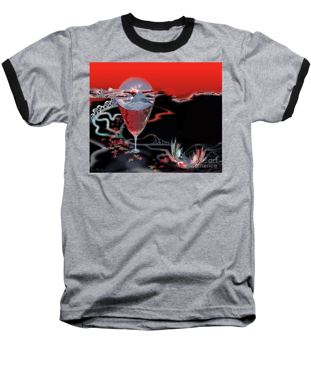 Blood Baseball T-Shirt featuring the digital art Blood Red From Pure White by Jennifer Kathleen Phillips