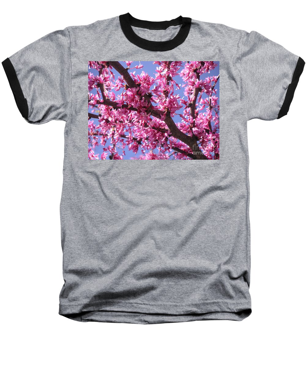 Nature Baseball T-Shirt featuring the photograph Blooming Red Buds by Lucyna A M Green