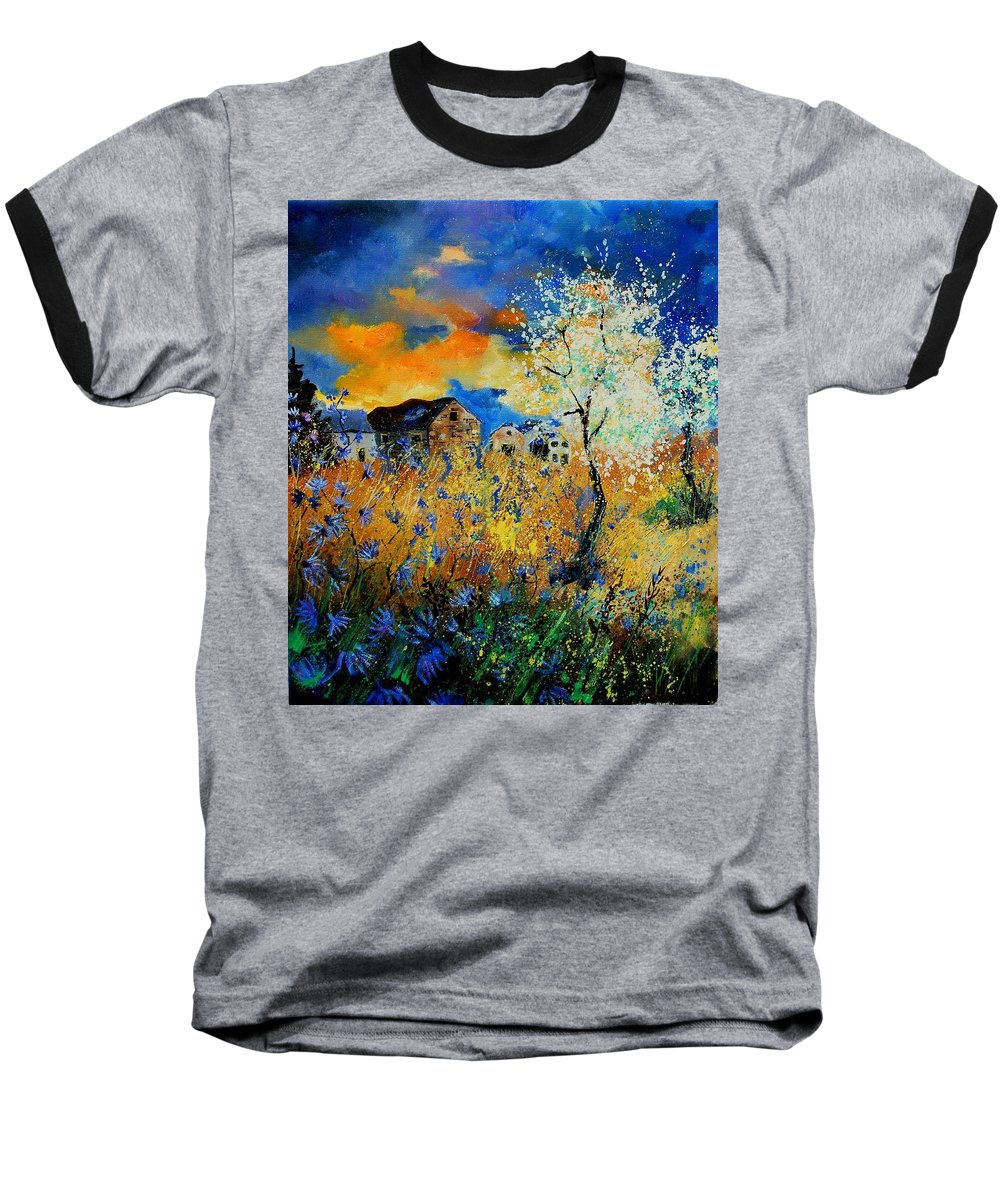 Poppies Baseball T-Shirt featuring the painting Blooming Trees by Pol Ledent