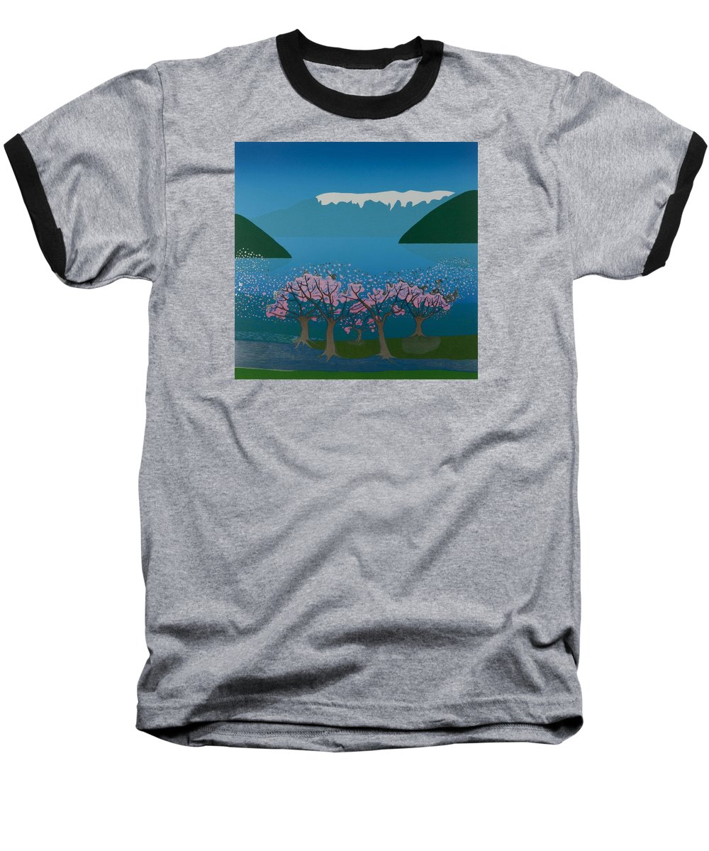 Landscape Baseball T-Shirt featuring the mixed media Blossom In The Hardanger Fjord by Jarle Rosseland
