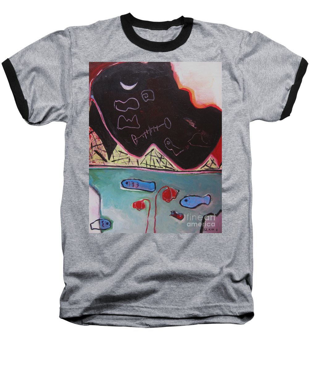 Blow Me Down Painting Baseball T-Shirt featuring the painting Blow Me Down11 by Seon-Jeong Kim
