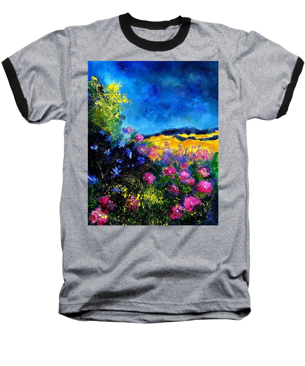 Landscape Baseball T-Shirt featuring the painting Blue And Pink Flowers by Pol Ledent