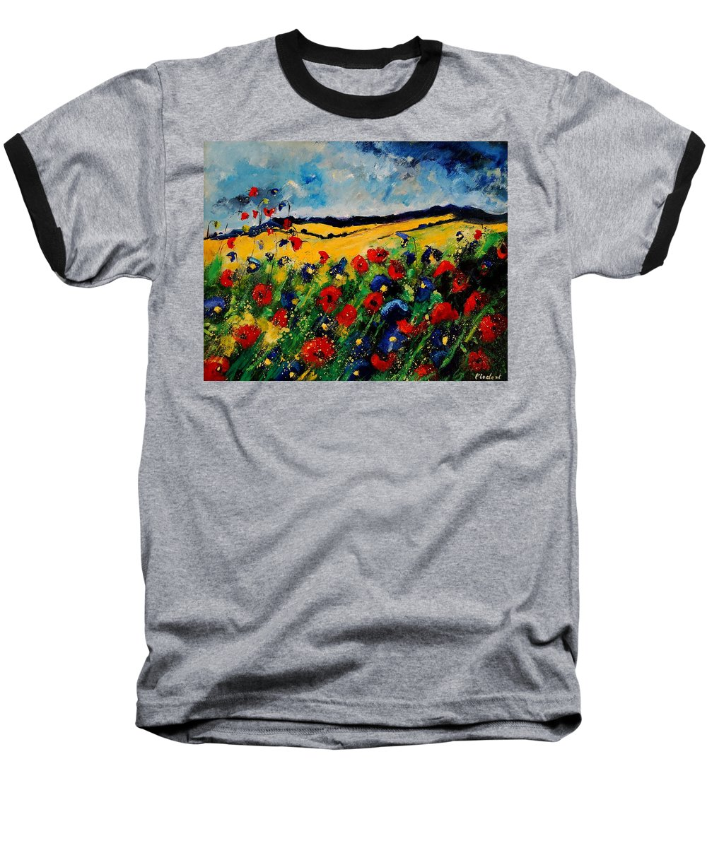 Poppies Baseball T-Shirt featuring the painting Blue And Red Poppies 45 by Pol Ledent