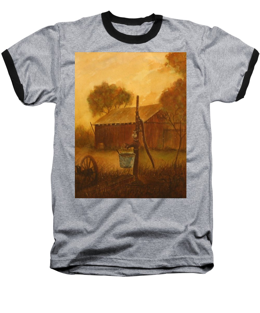 Barn; Bucket; Country Baseball T-Shirt featuring the painting Blue Bucket by Ben Kiger