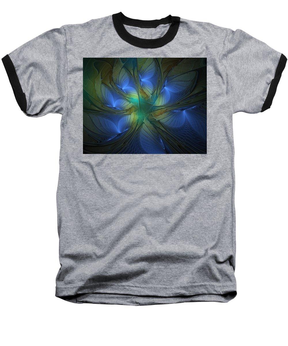 Digital Art Baseball T-Shirt featuring the digital art Blue Butterflies by Amanda Moore
