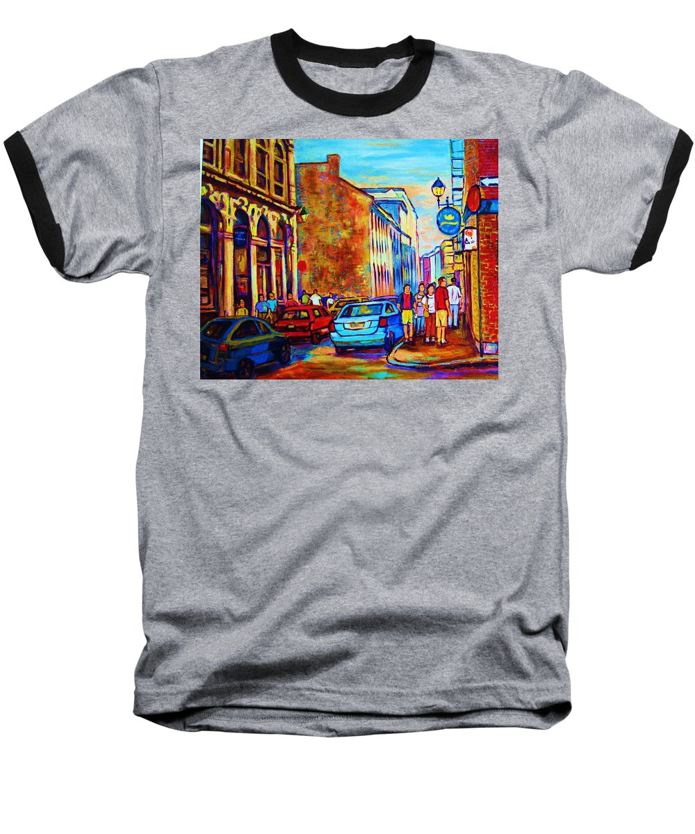 Montreal Baseball T-Shirt featuring the painting Blue Cars At The Resto Bar by Carole Spandau