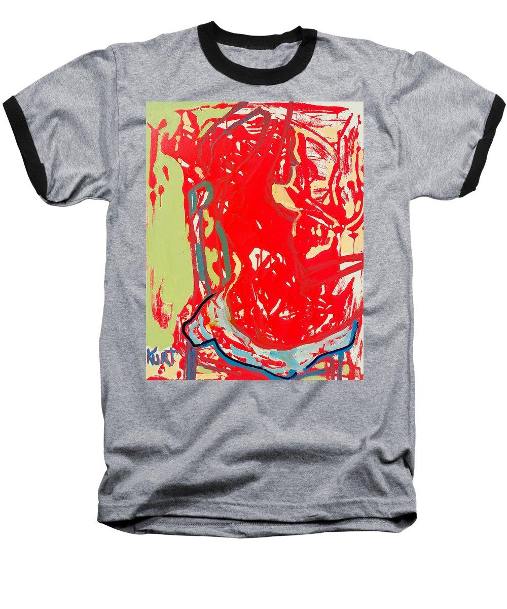 Nude Baseball T-Shirt featuring the painting Blue Chair by Kurt Hausmann