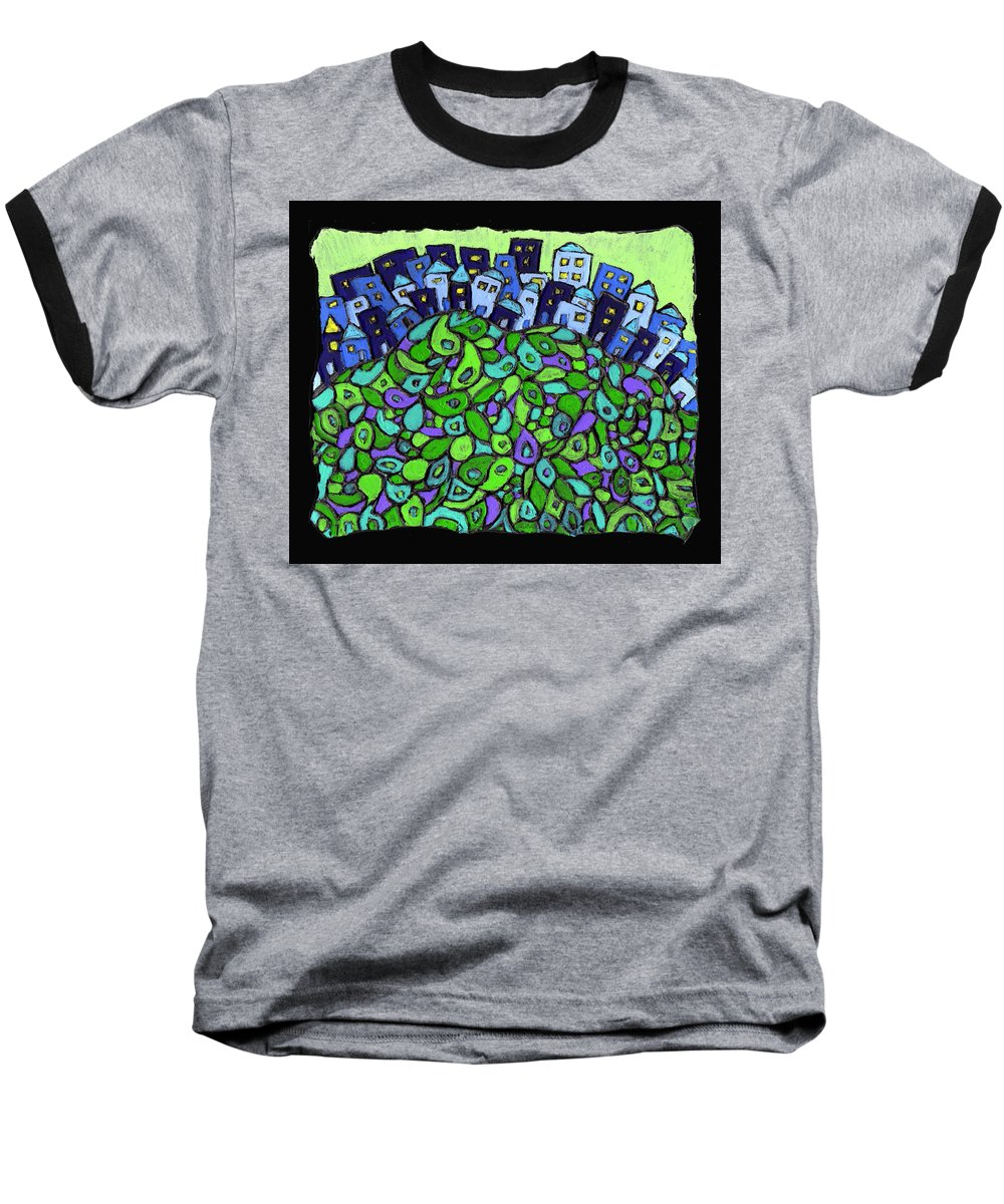 City Baseball T-Shirt featuring the painting Blue City On A Hill by Wayne Potrafka