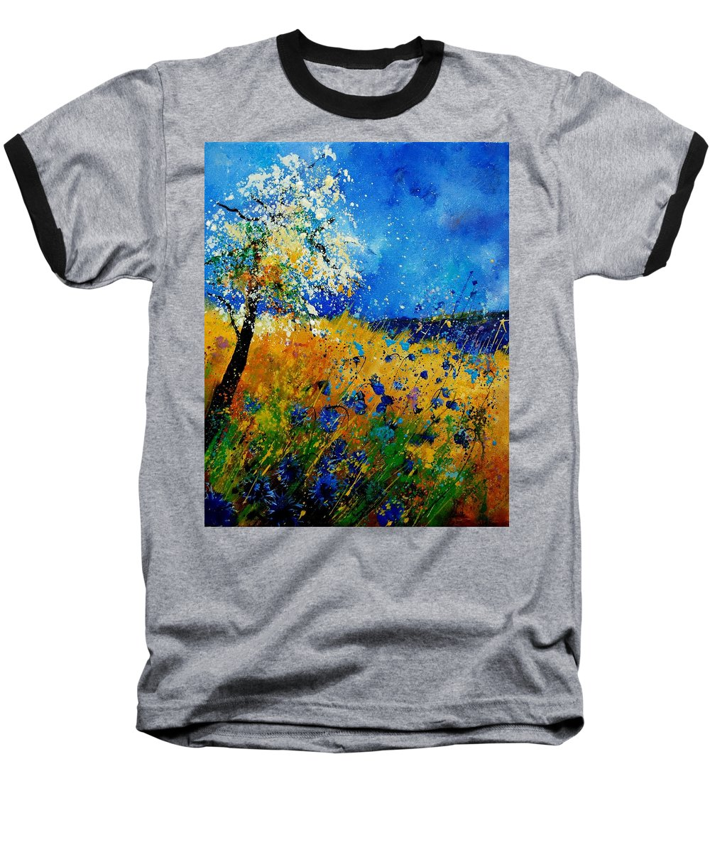 Poppies Baseball T-Shirt featuring the painting Blue Cornflowers 450108 by Pol Ledent