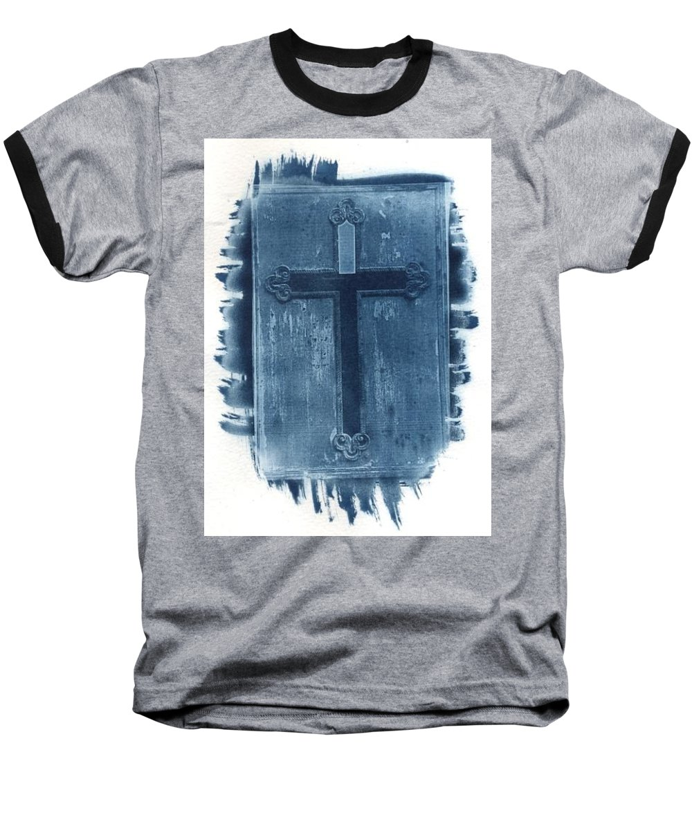 Cyanotype Baseball T-Shirt featuring the photograph Blue Cross by Jane Linders