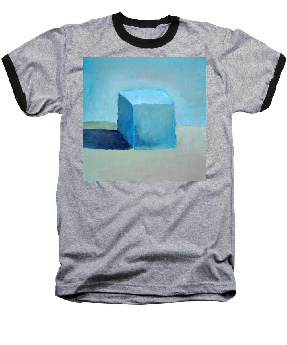 Blue Baseball T-Shirt featuring the painting Blue Cube Still Life by Michelle Calkins