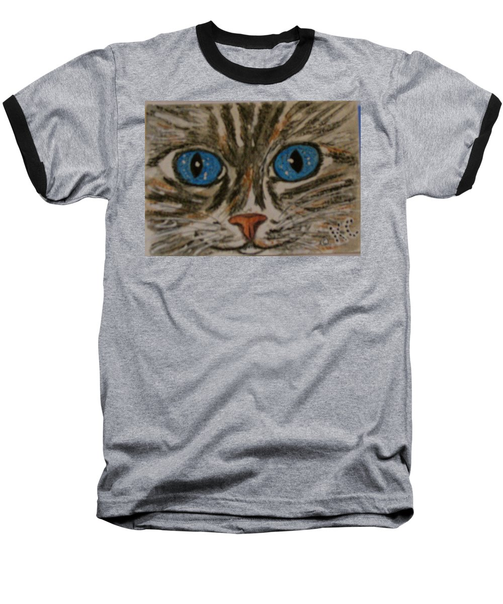 Blue Eyes Baseball T-Shirt featuring the painting Blue Eyed Tiger Cat by Kathy Marrs Chandler
