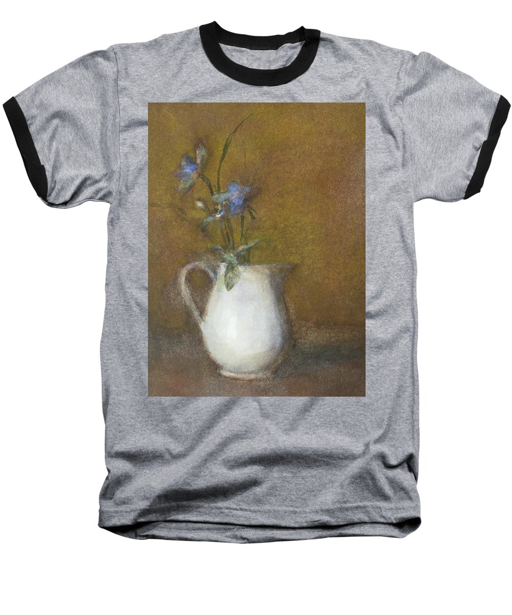 Floral Still Life Baseball T-Shirt featuring the painting Blue Flower by Joan DaGradi