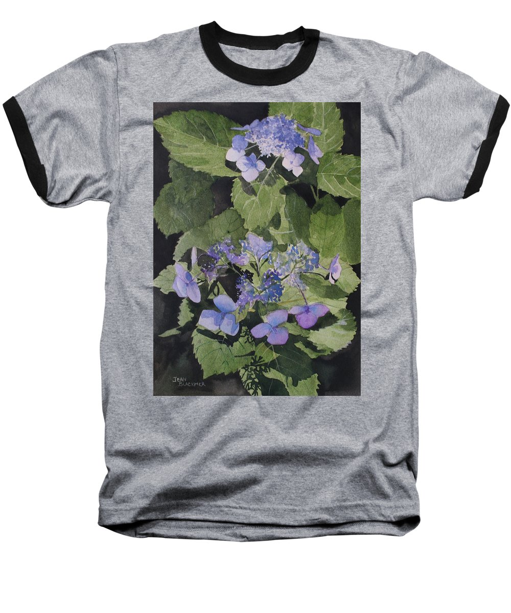 Flowers Baseball T-Shirt featuring the painting Blue Lace by Jean Blackmer
