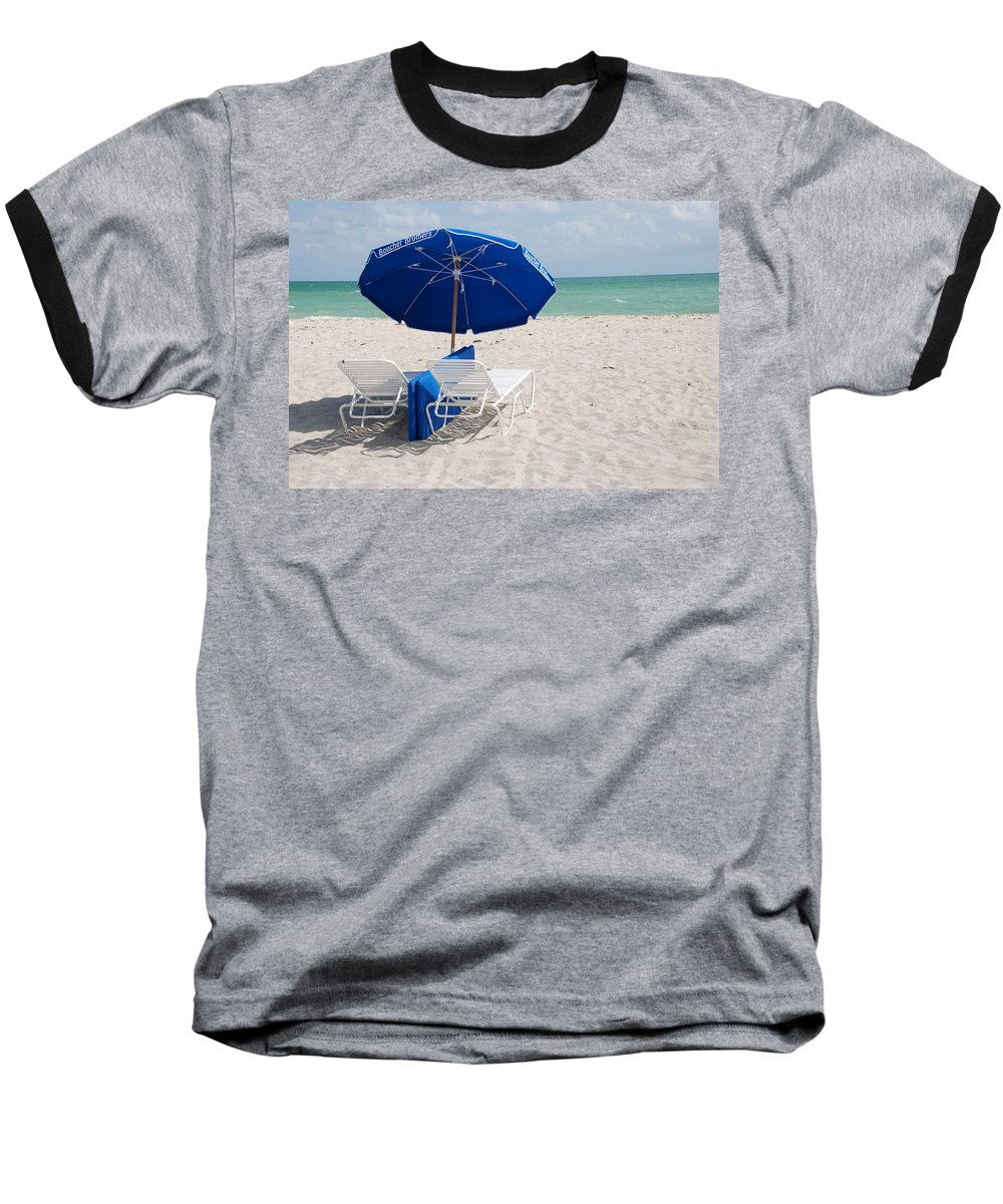 Sea Scape Baseball T-Shirt featuring the photograph Blue Paradise Umbrella by Rob Hans