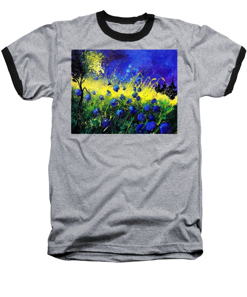 Flowers Baseball T-Shirt featuring the painting Blue Poppies by Pol Ledent