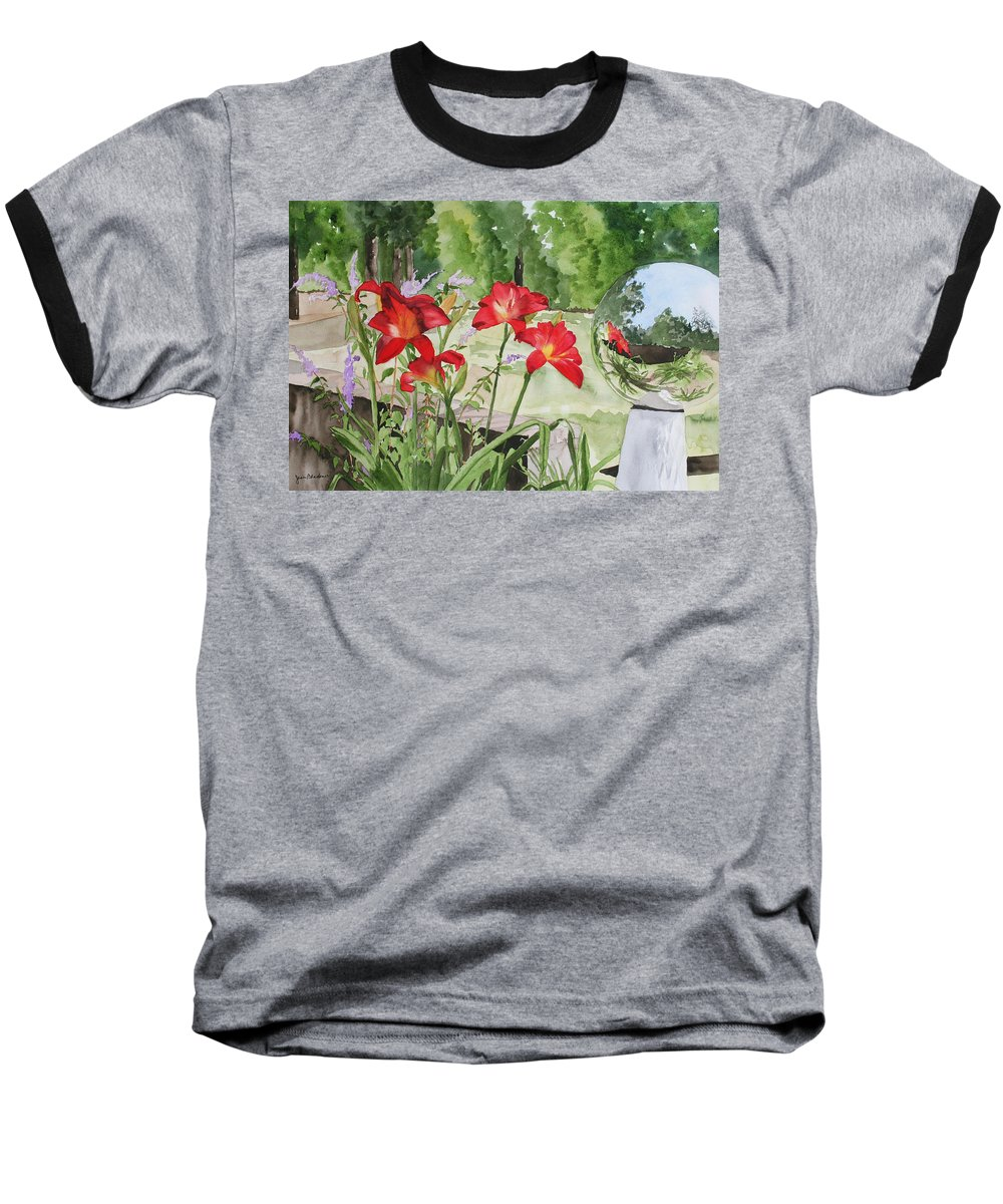 Flowers Baseball T-Shirt featuring the painting Blue Sky Reflections by Jean Blackmer