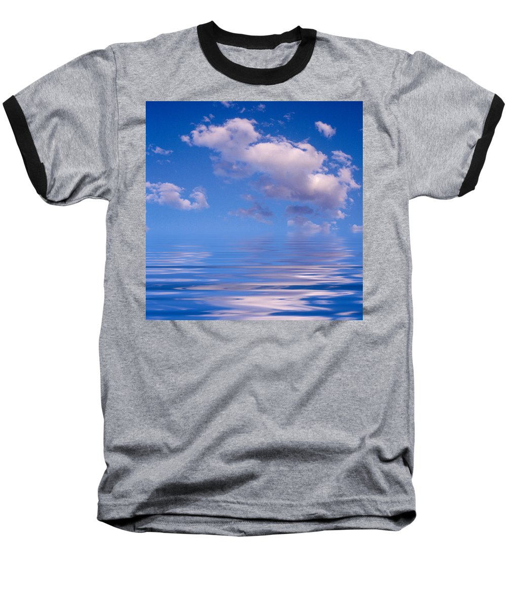 Original Art Baseball T-Shirt featuring the photograph Blue Sky Reflections by Jerry McElroy
