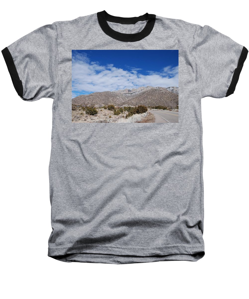 Sandia Mountains Baseball T-Shirt featuring the photograph Blue Skys Over The Sandias by Rob Hans