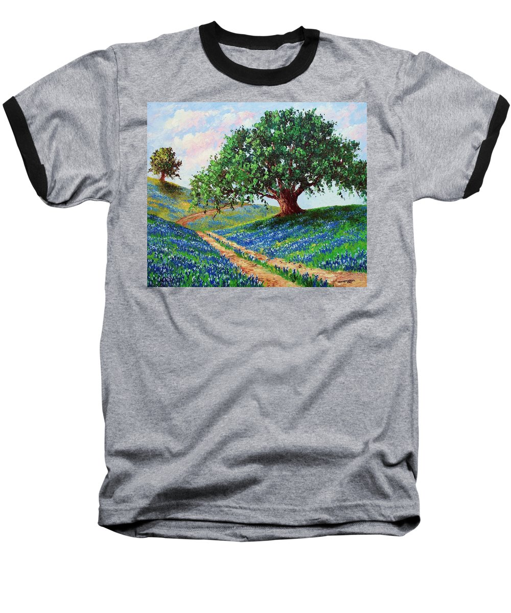 Bluebonnet Baseball T-Shirt featuring the painting Bluebonnet Road by David G Paul