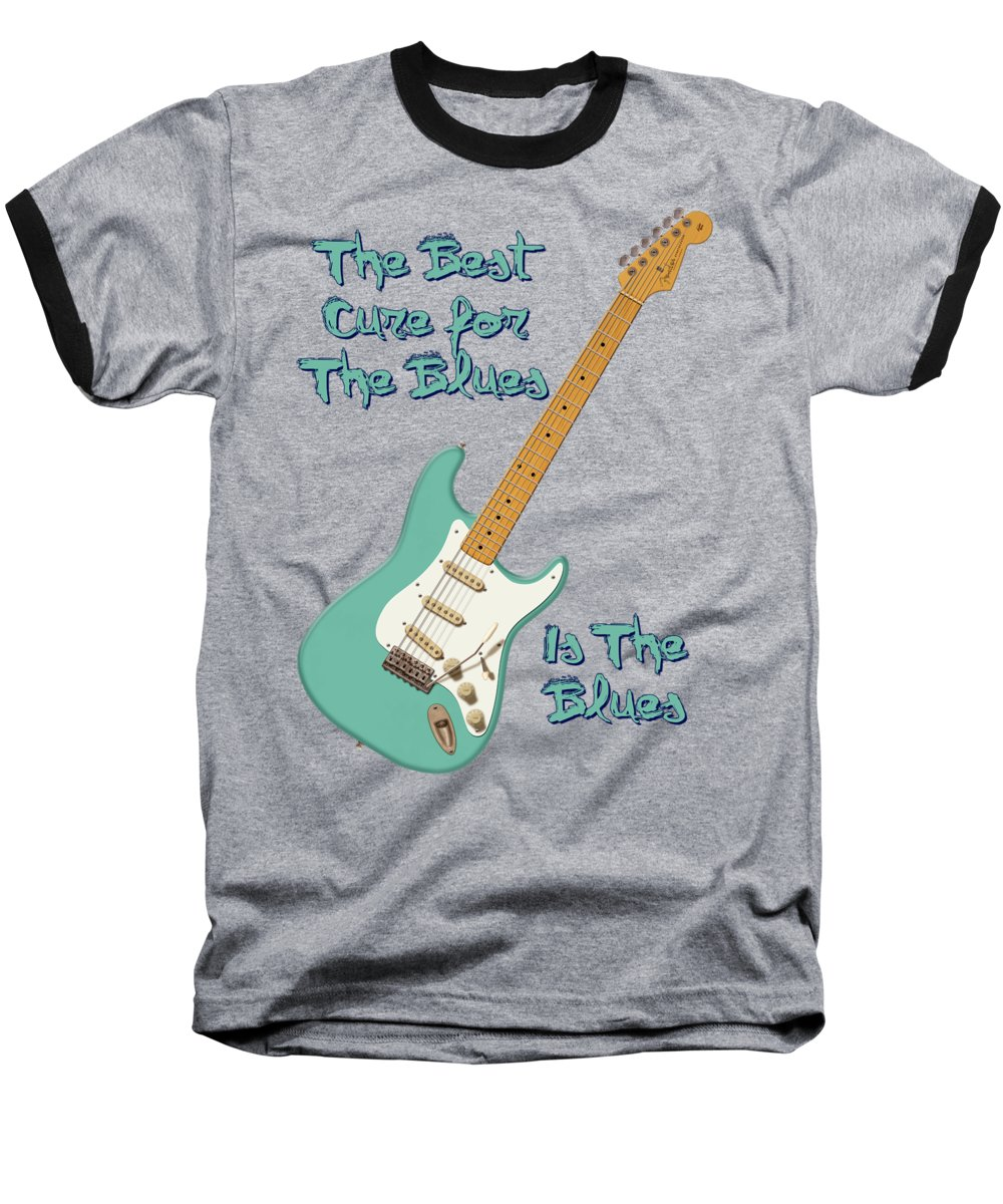 Stratocaster Baseball T-Shirt featuring the digital art Blues Cure Seafoam by WB Johnston