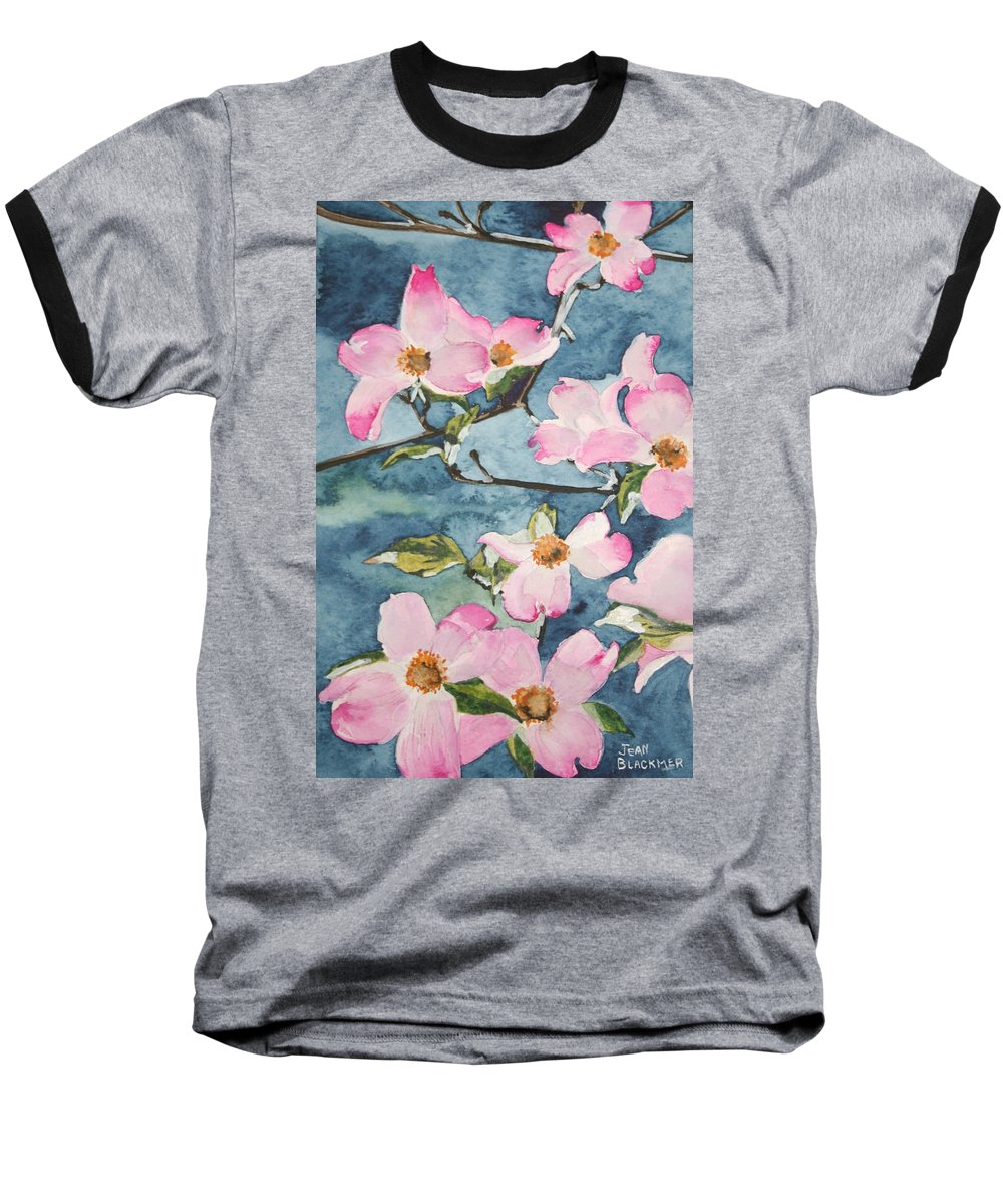 Flowers Baseball T-Shirt featuring the painting Blushing Prettily by Jean Blackmer
