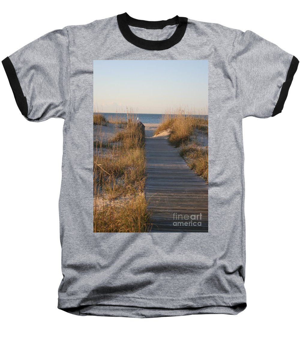 Boardwalk Baseball T-Shirt featuring the photograph Boardwalk To The Beach by Nadine Rippelmeyer
