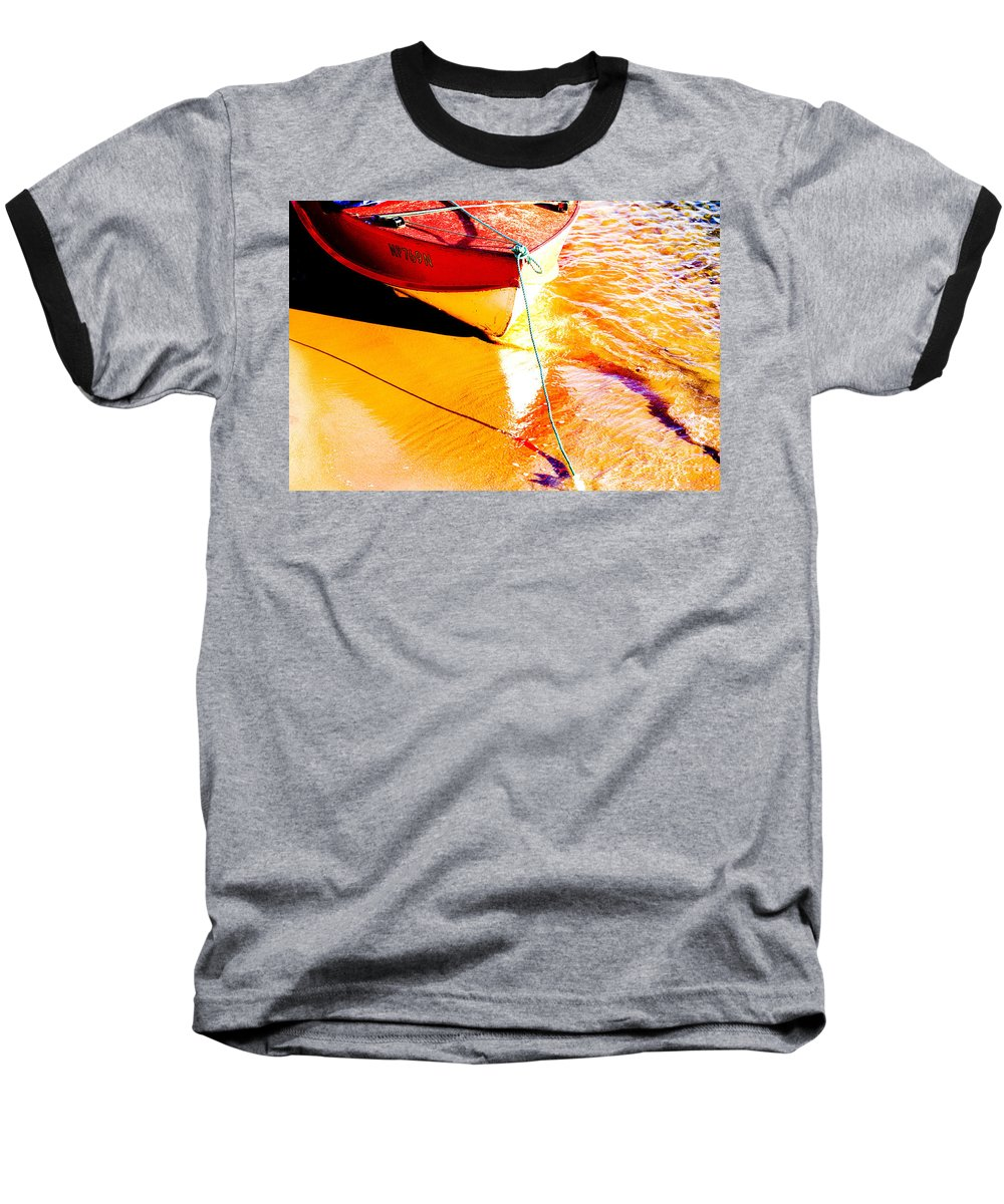 Boat Abstract Yellow Water Orange Baseball T-Shirt featuring the photograph Boat Abstract by Sheila Smart Fine Art Photography