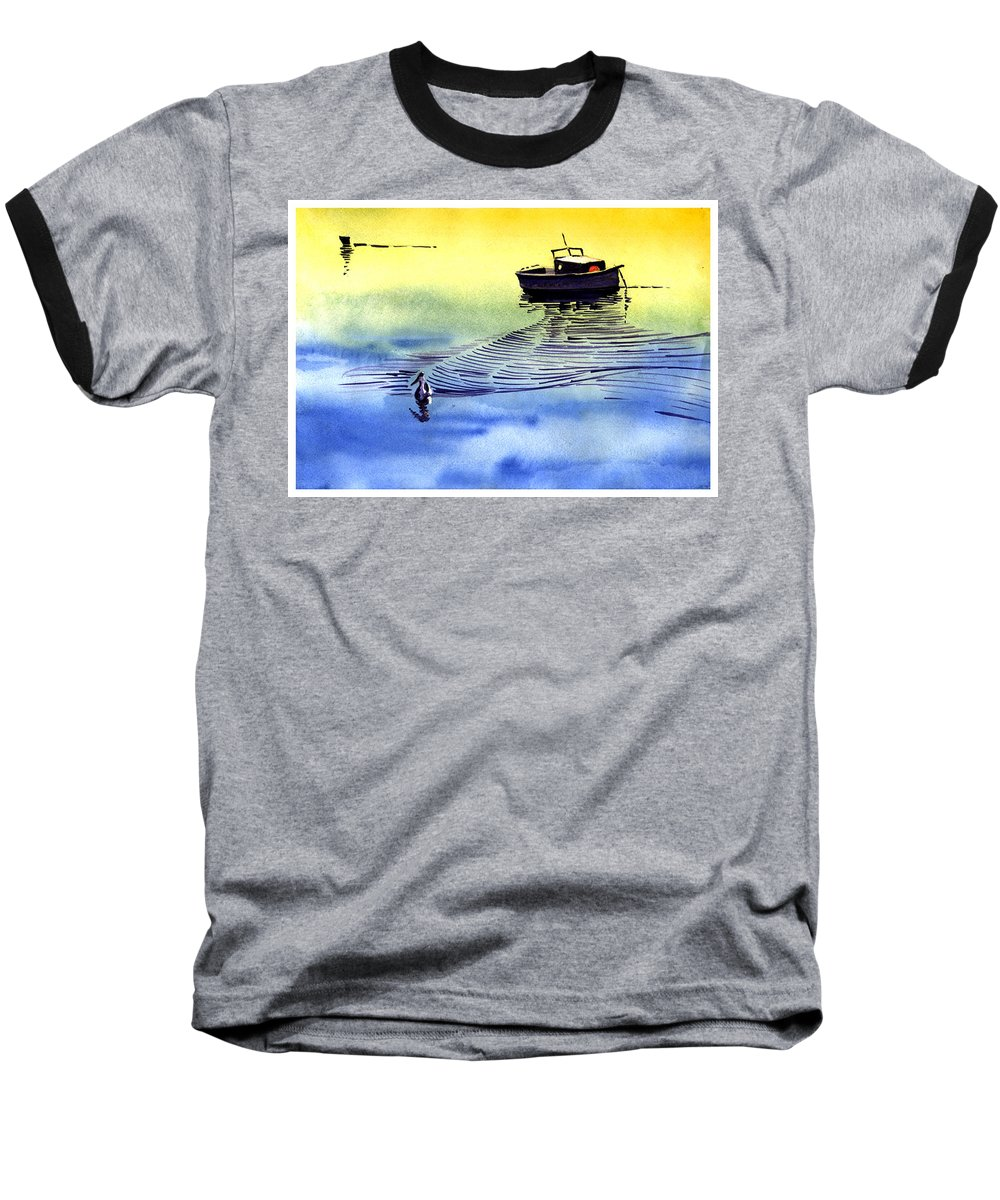 Watercolor Baseball T-Shirt featuring the painting Boat And The Seagull by Anil Nene