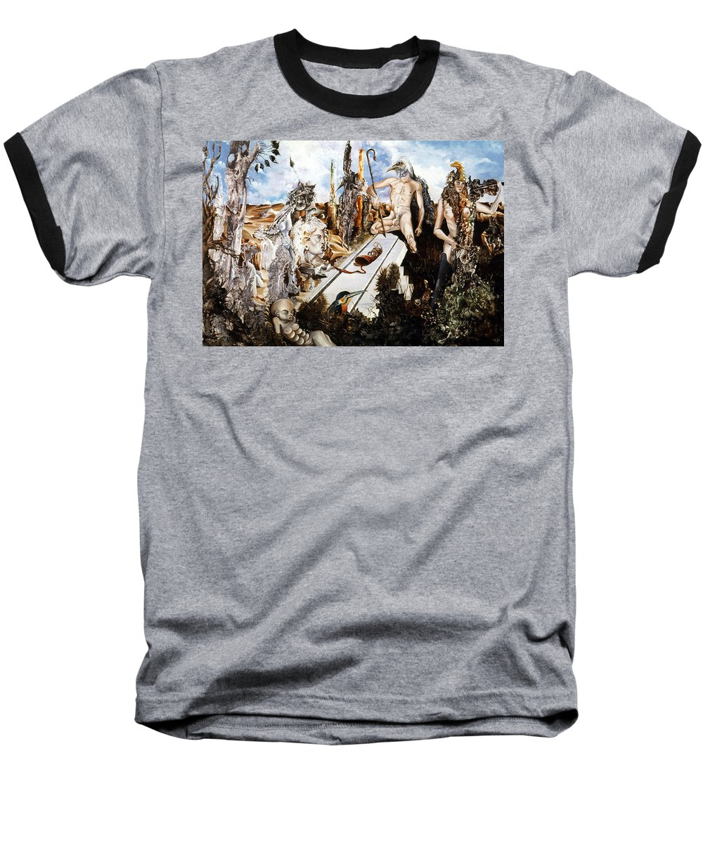 Surrealism Baseball T-Shirt featuring the painting Bogomils Court by Otto Rapp