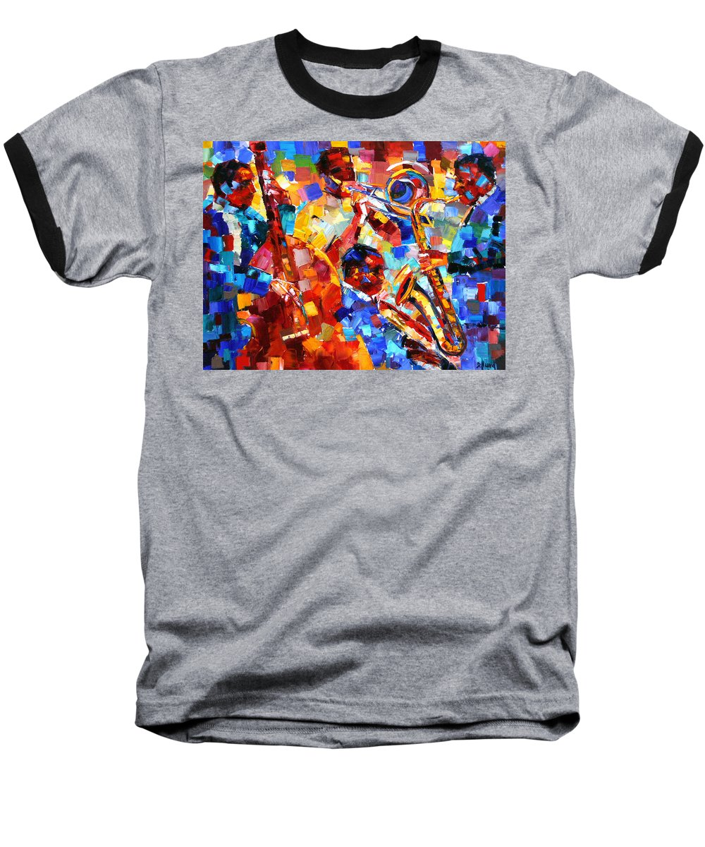 Jazz Baseball T-Shirt featuring the painting Bold Jazz Quartet by Debra Hurd