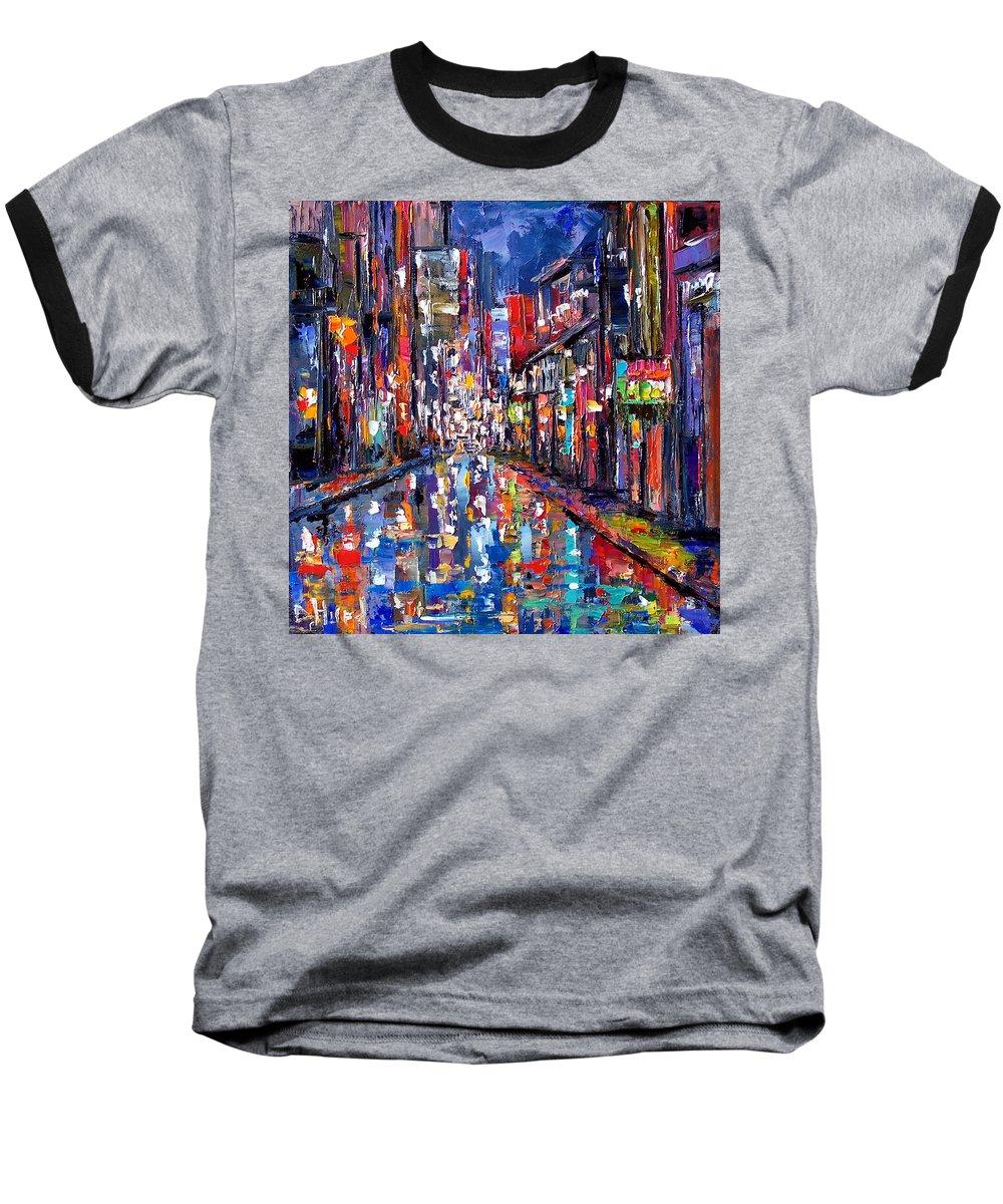 New Orleans Baseball T-Shirt featuring the painting Bourbon Street by Debra Hurd