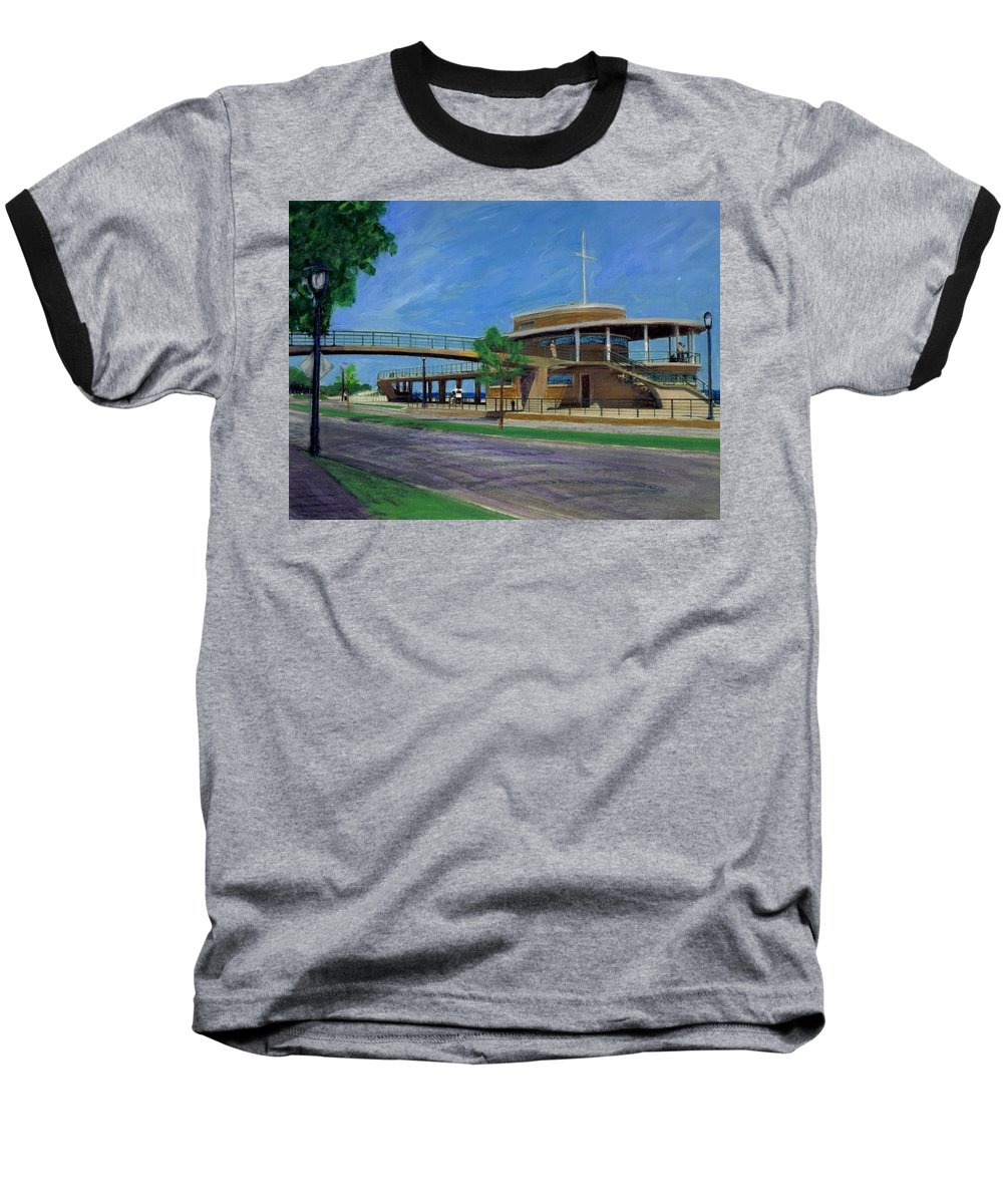 Miexed Media Baseball T-Shirt featuring the mixed media Bradford Beach House by Anita Burgermeister