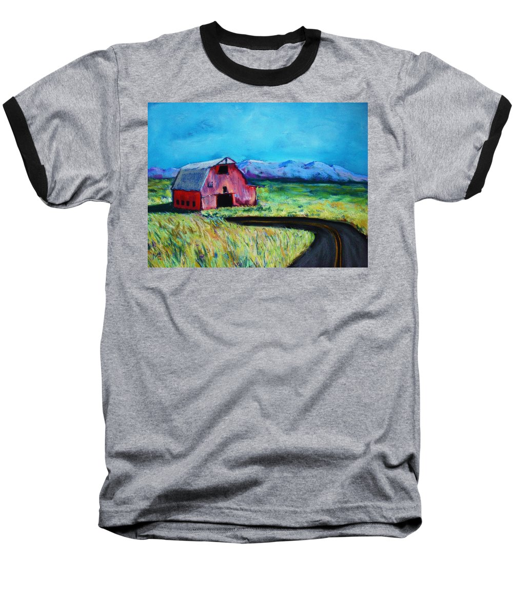 Barn Baseball T-Shirt featuring the pastel Bradley's Barn by Melinda Etzold
