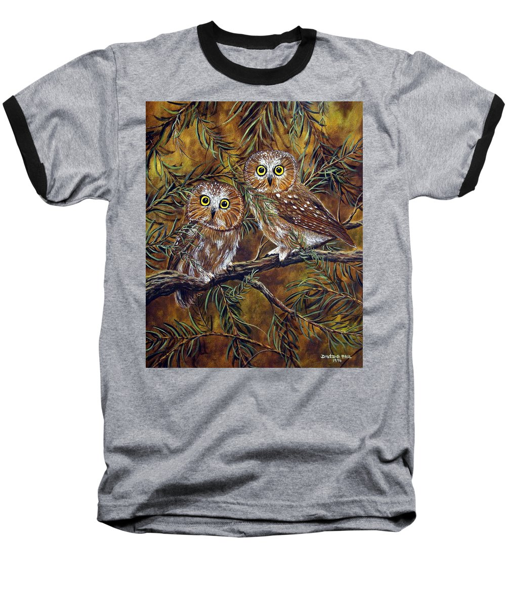 Owls Baseball T-Shirt featuring the painting Branch Buddies by David G Paul