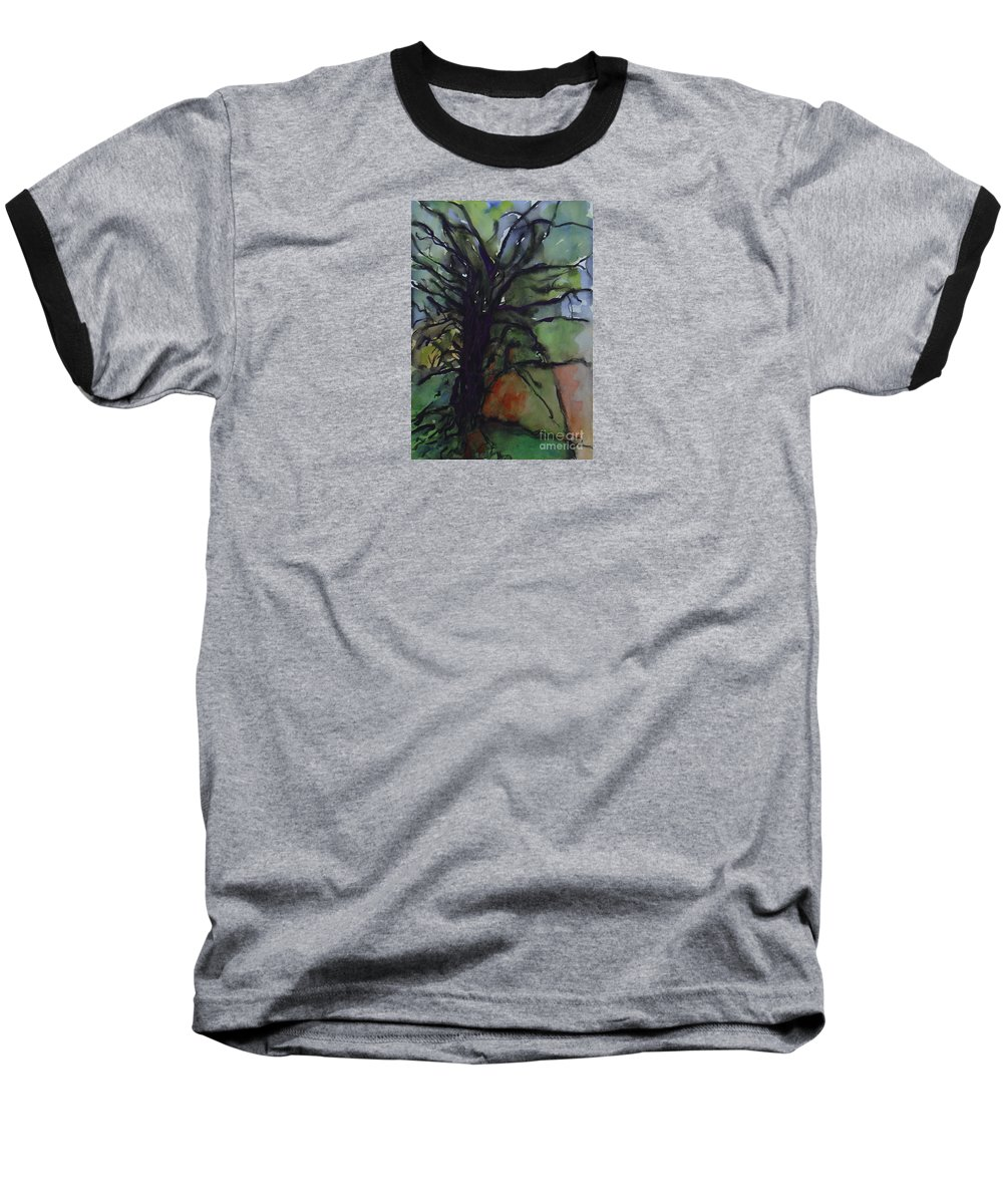 Tree Landscape Abstract Watercolor Original Blue Green Baseball T-Shirt featuring the painting Branching by Leila Atkinson