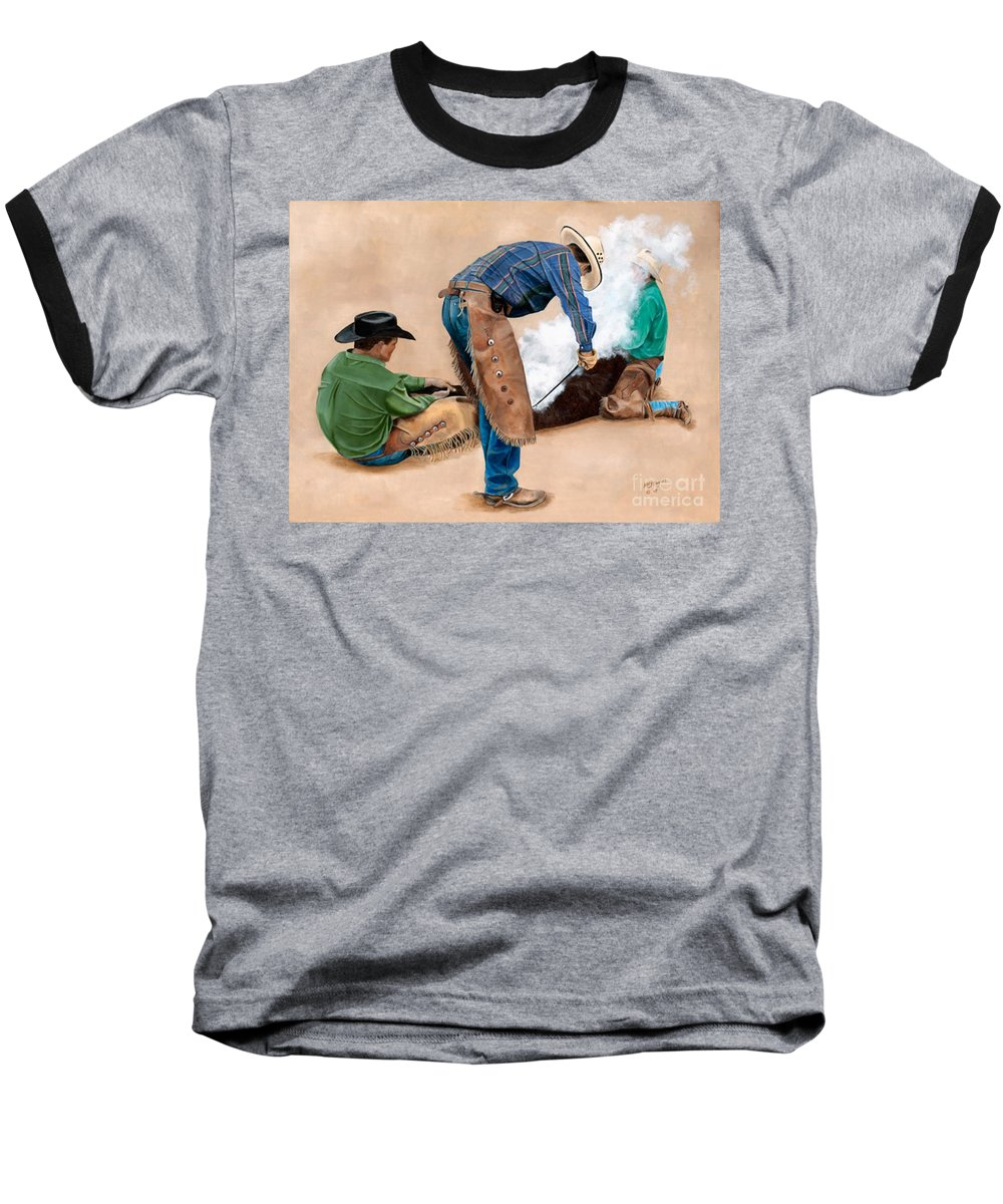 Art Baseball T-Shirt featuring the painting Branding Day by Mary Rogers