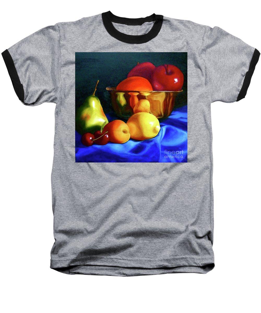 Still Llife Baseball T-Shirt featuring the painting Brass Ensemble by Susan A Becker