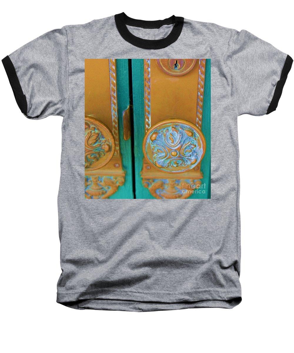 Door Baseball T-Shirt featuring the photograph Brass Is Green by Debbi Granruth