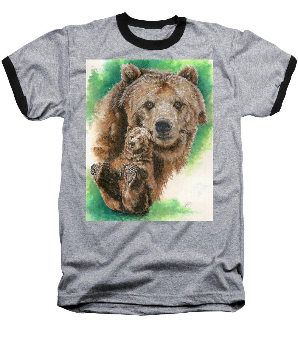 Bear Baseball T-Shirt featuring the mixed media Brawny by Barbara Keith