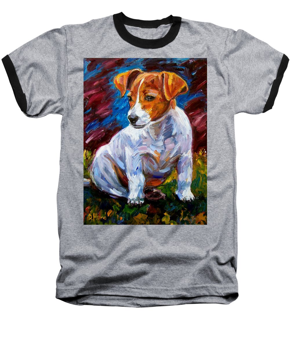 Dog Art Baseball T-Shirt featuring the painting Break Time by Debra Hurd