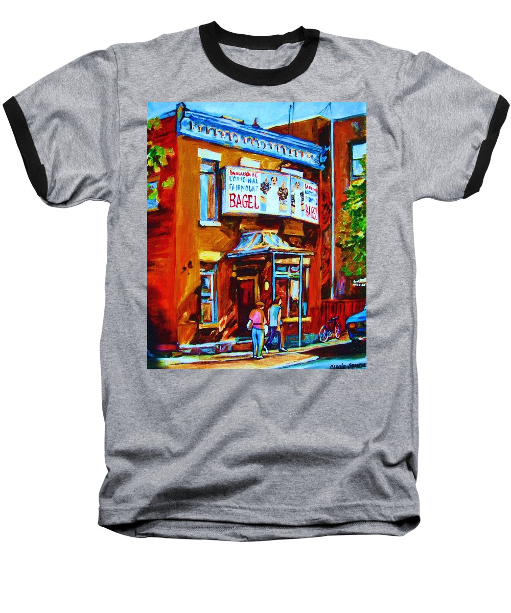 Fairmount Bagel Baseball T-Shirt featuring the painting Breakfast At The Bagel Cafe by Carole Spandau