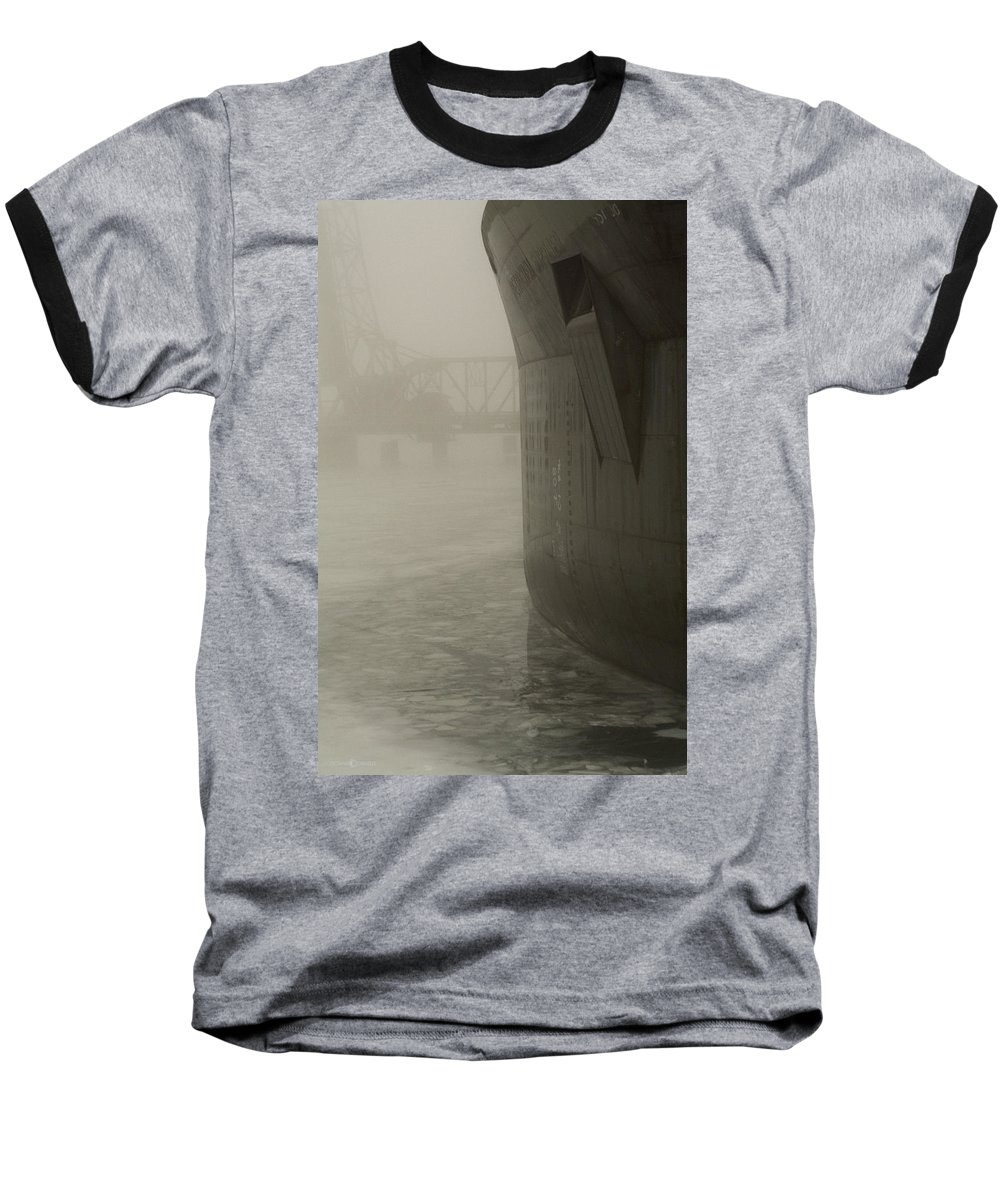 Water Baseball T-Shirt featuring the photograph Bridge And Barge by Tim Nyberg