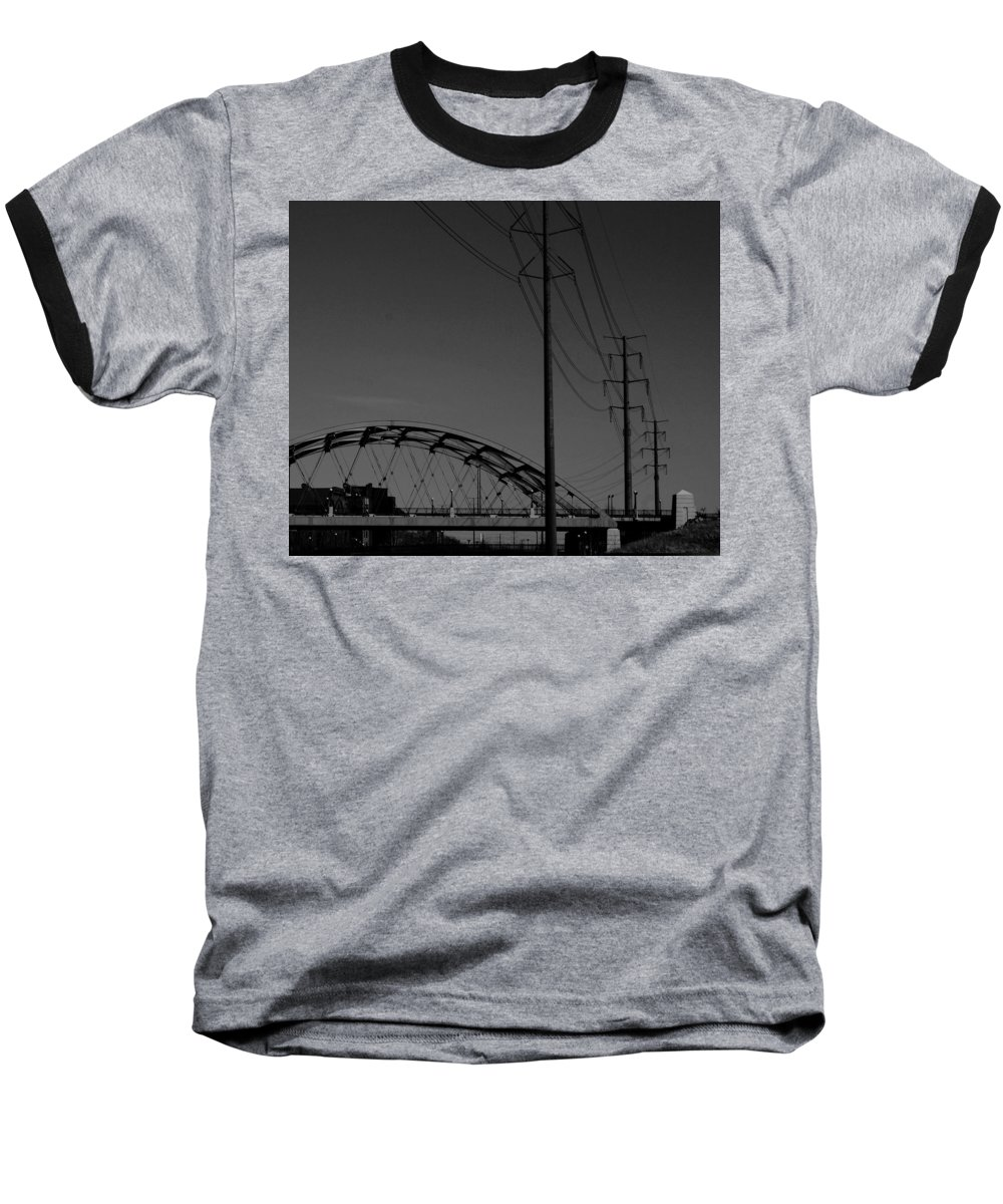 Metal Structures Baseball T-Shirt featuring the photograph Bridge And Power Poles At Dusk by Angus Hooper Iii