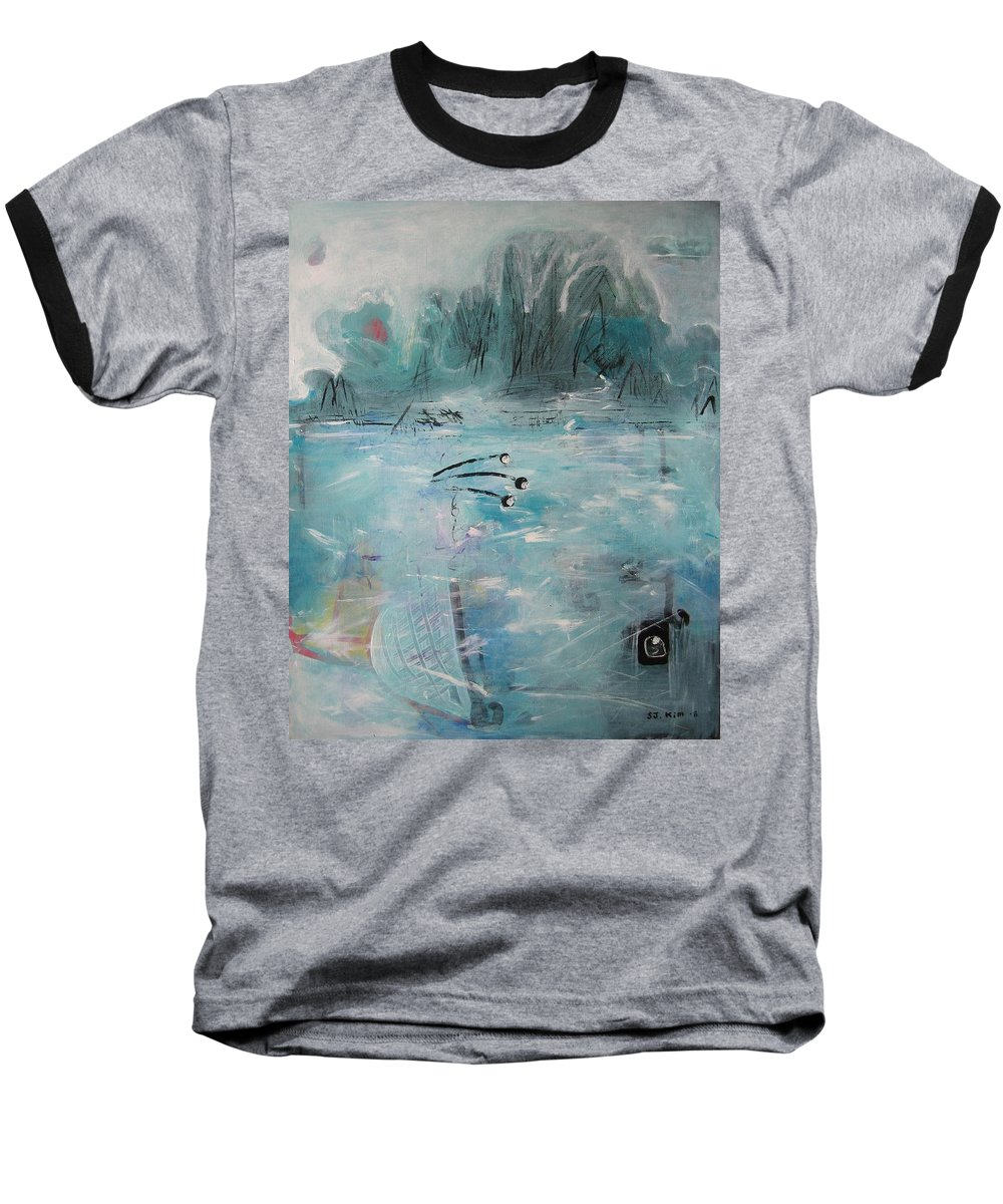Abstract Paintings Baseball T-Shirt featuring the painting Brierly Beach by Seon-Jeong Kim