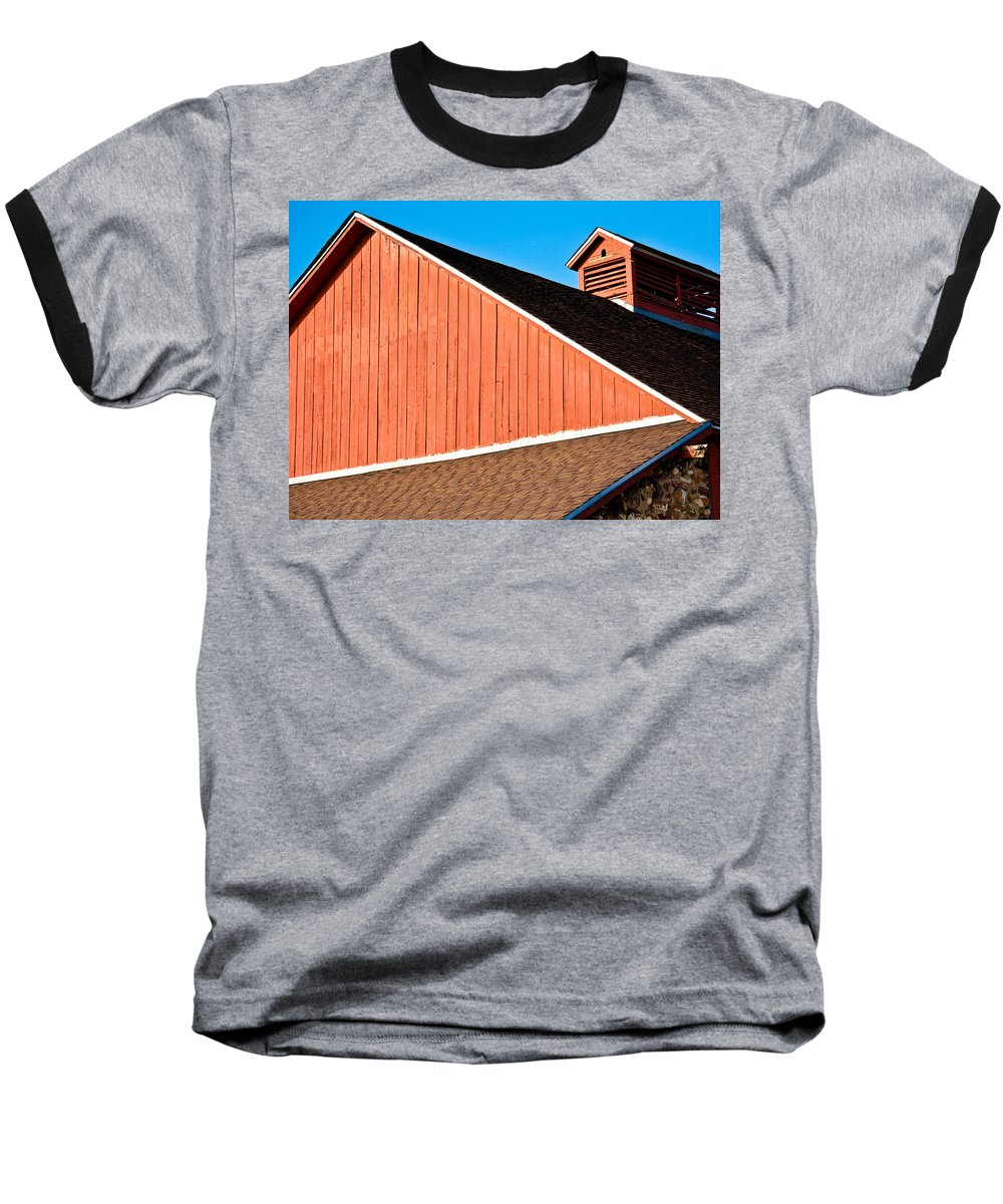 Americana Baseball T-Shirt featuring the photograph Bright Red Barn by Marilyn Hunt