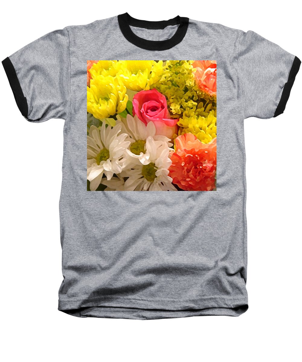 Floral Baseball T-Shirt featuring the painting Bright Spring Flowers by Amy Vangsgard