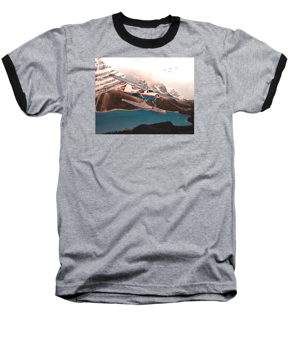 Aviation Baseball T-Shirt featuring the painting Bringing Home The Groceries by Marc Stewart