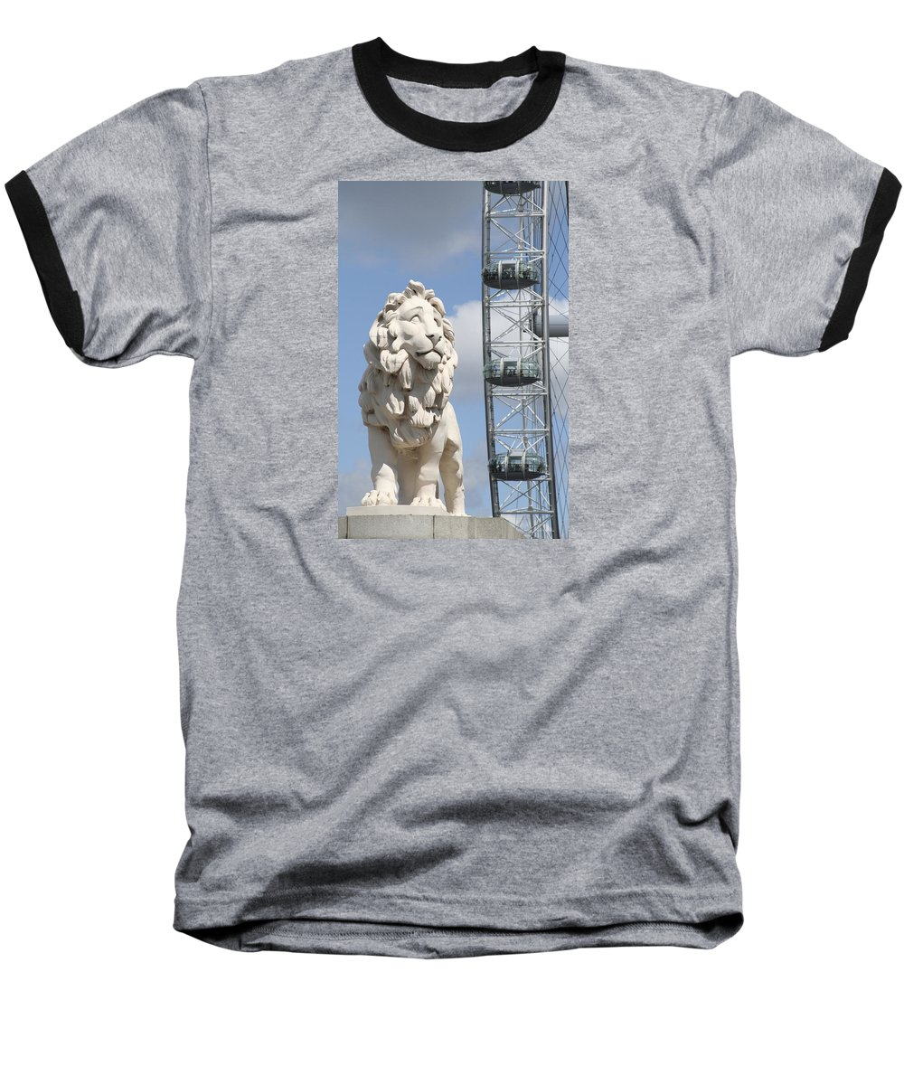 Lion Baseball T-Shirt featuring the photograph Britannia Lion by Margie Wildblood